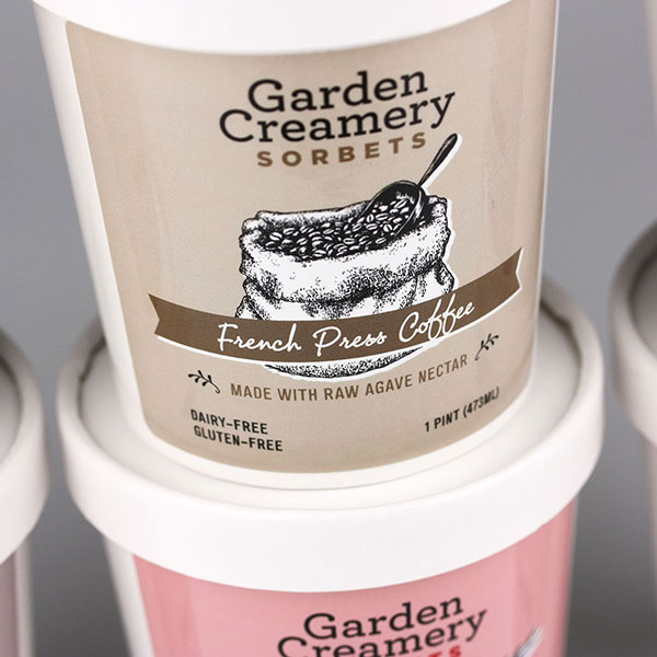This is a photo of our work on the Garden Creamery Sorbets project.